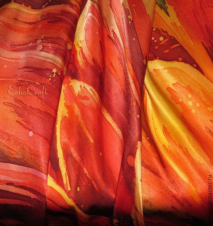 """Шелковый платок """"Мой пламенный георгин"""", горячий батик, ручная роспись шелка ."""