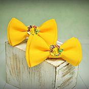 """Работы для детей, ручной работы. Ярмарка Мастеров - ручная работа резиночки-бантики """"Ярко-желтые"""". Handmade."""