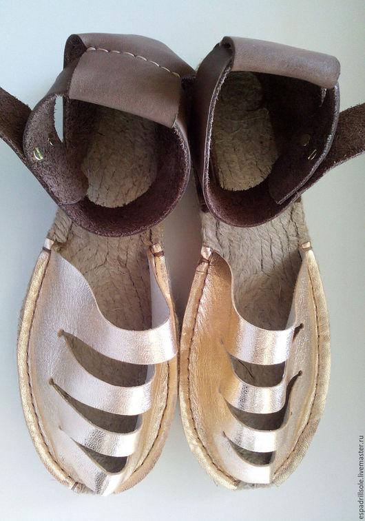 """Обувь ручной работы. Ярмарка Мастеров - ручная работа. Купить Эспадрильи- босоножки на джутовой подошве """"Золотце"""". Handmade. босоножки из кожи"""