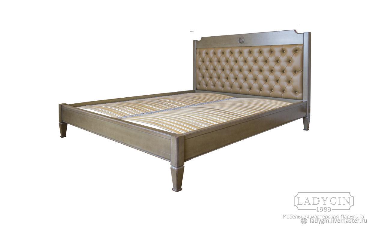 Деревянная кровать с мягким изголовьем из классической коллекции, Мебель, Дубна, Фото №1