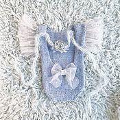 Боди ручной работы. Ярмарка Мастеров - ручная работа Боди для фотосессии новорожденных Blue Bow. Handmade.
