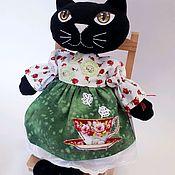 Мягкие игрушки ручной работы. Ярмарка Мастеров - ручная работа Кошка чёрная льняная. Handmade.