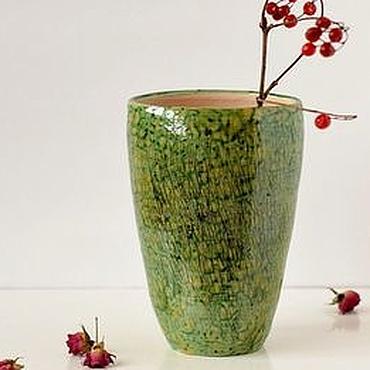 Для дома и интерьера ручной работы. Ярмарка Мастеров - ручная работа Зеленая ваза для цветов ручной работы Рептилия-2. Handmade.