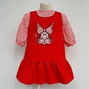 Сарафан + блузка комплект с кроликом
