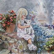 """Картины ручной работы. Ярмарка Мастеров - ручная работа картина """"Девочка с собаками"""". Handmade."""