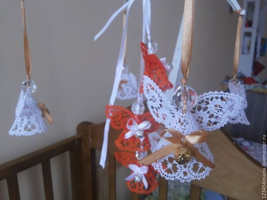 """Развивающие игрушки ручной работы. Ярмарка Мастеров - ручная работа. Купить Мобиль """" Ангелы для ангелочка"""" 2. Handmade. Оранжевый"""