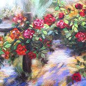 """Картины и панно ручной работы. Ярмарка Мастеров - ручная работа картина из шерсти """"Плетистые розы"""". Handmade."""