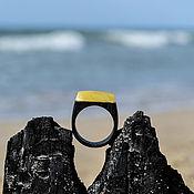 Украшения handmade. Livemaster - original item Brutal wooden ring with Kaliningrad amber. Handmade.