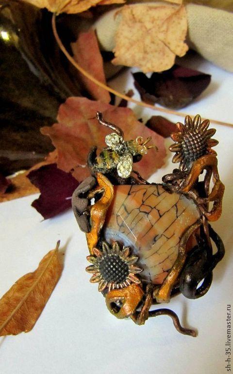 """Кольца ручной работы. Ярмарка Мастеров - ручная работа. Купить Кольцо """"Напоследок"""". Handmade. Кольцо из кожи, Осенние цвета, подсолнухи"""