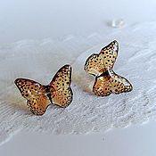 Украшения handmade. Livemaster - original item Transparent Stud Earrings Amber Leopard Blue Butterfly. Handmade.