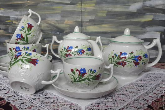 Винтажная посуда. Ярмарка Мастеров - ручная работа. Купить Чайный набор. Handmade. Комбинированный, СССР, блошка, чай, ретро
