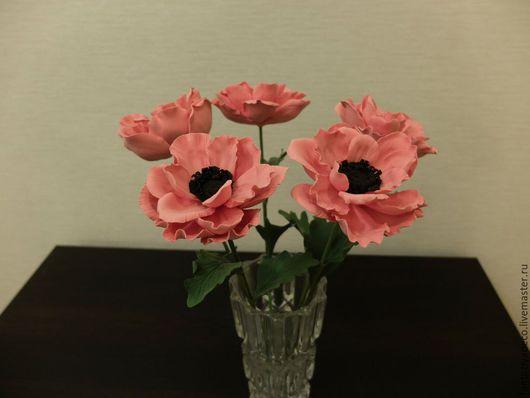 Цветы ручной работы. Ярмарка Мастеров - ручная работа. Купить Анемоны из полимерной глины. Handmade. Коралловый, цветы в санкт-петербурге