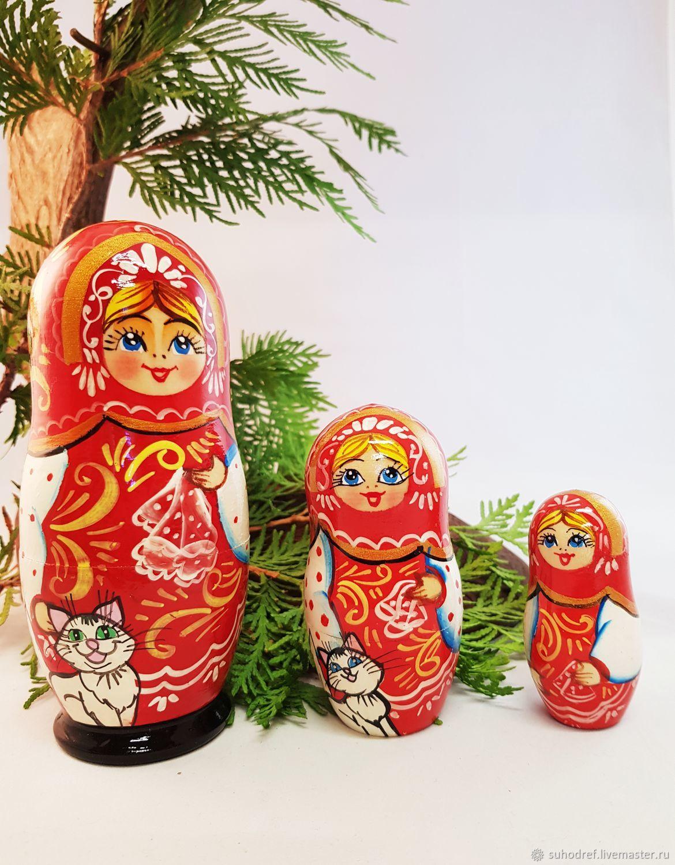 Трехместная матрешка с кошечкой, Народная кукла, Чехов,  Фото №1