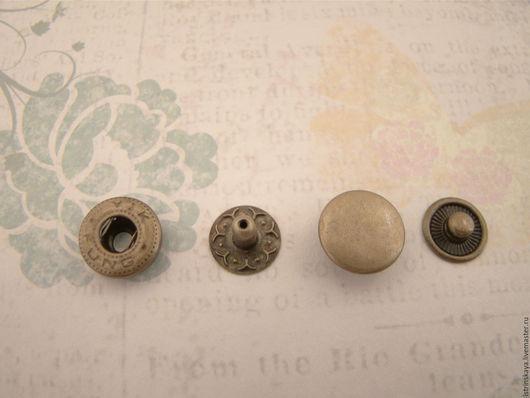 Шитье ручной работы. Ярмарка Мастеров - ручная работа. Купить Кнопка пружинная 15 мм антик. Handmade. Серебряный, кнопки
