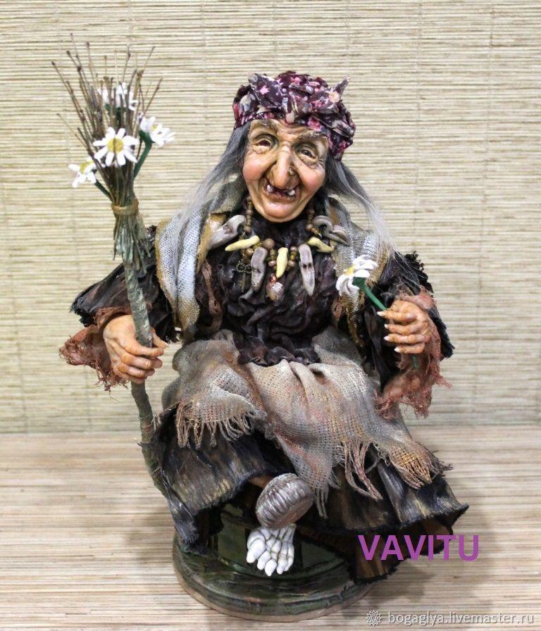 Кукла авторская интерьерная статична коллекционная Баба Яга  бордовый, Народная кукла, Красноярск,  Фото №1