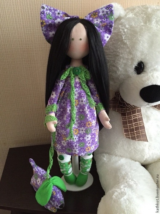 Коллекционные куклы ручной работы. Ярмарка Мастеров - ручная работа. Купить Текстильная авторская кукла Бетти и Барбосик. Handmade. Разноцветный