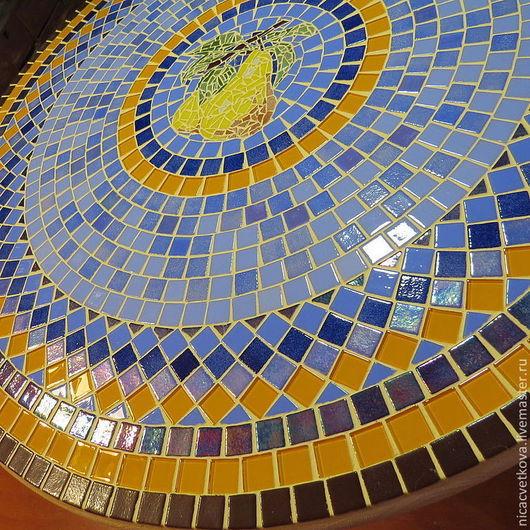 """Мебель ручной работы. Ярмарка Мастеров - ручная работа. Купить Мозаика, Стол обеденный  """"Груши"""",. Handmade. Голубой, интерьер кухни"""