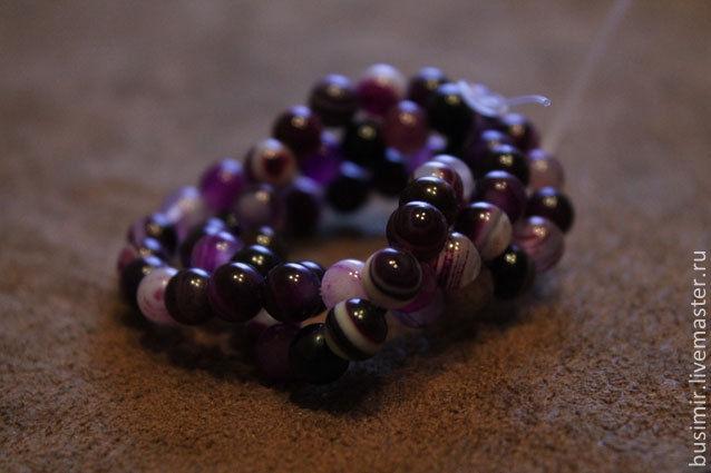 Агат бразильский полосатый, цвет - фиолетовый. Бусины агата 8 мм. Агат для создания украшений. Busimir