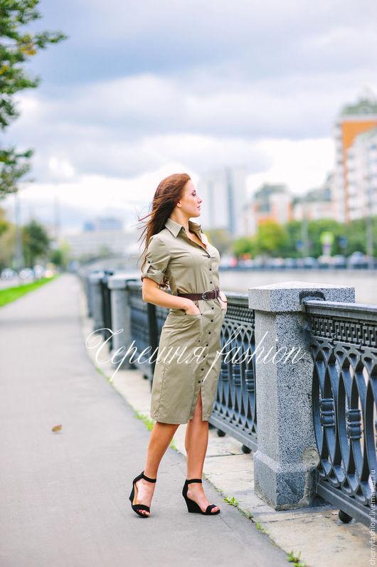 """Платья ручной работы. Ярмарка Мастеров - ручная работа. Купить Платье-рубашка """"Сафари"""". Handmade. Бежевый, платье рубашка"""