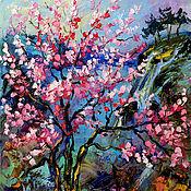 """Картины и панно ручной работы. Ярмарка Мастеров - ручная работа """"Сакура на Озере Mae Kuang"""" - картина маслом на холсте. Handmade."""