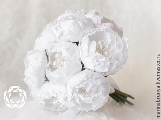 Свадебные цветы ручной работы. Ярмарка Мастеров - ручная работа. Купить Брошь-букет БЕЛЫЙ. Handmade. Белый, свадебный