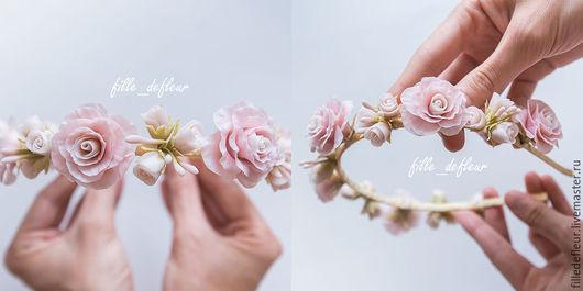 Диадемы, обручи ручной работы. Ярмарка Мастеров - ручная работа. Купить Цветочный венок из холодного фарфора для невесты. Handmade.