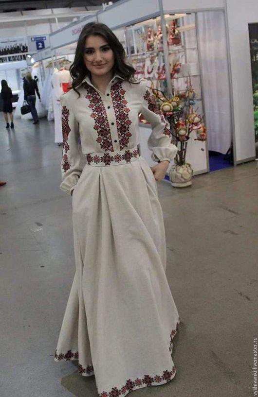 Этническая одежда ручной работы. Ярмарка Мастеров - ручная работа. Купить Стильное вышитое женское платье в пол кофе с молоком. Handmade.