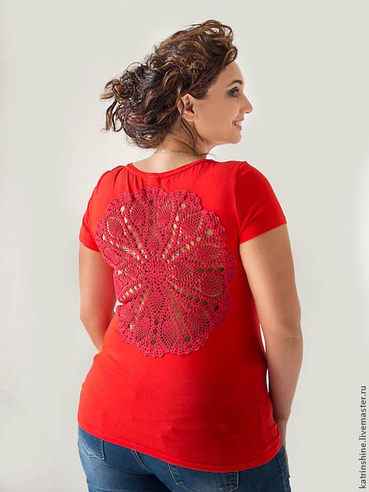 Футболки, майки ручной работы. Ярмарка Мастеров - ручная работа. Купить Красная футболка с ажурной спиной Большой Размер XL. Handmade.