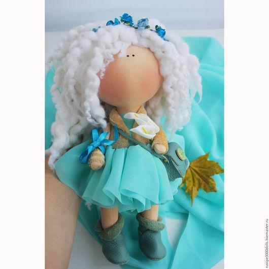 Куклы тыквоголовки ручной работы. Ярмарка Мастеров - ручная работа. Купить Интерьерная кукла. Handmade. Бирюзовый, кукла текстильная, снегурочка