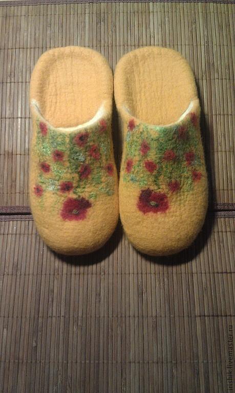 """Обувь ручной работы. Ярмарка Мастеров - ручная работа. Купить Тапочки домашние женские """" Маковый зной"""". Handmade. Желтый"""
