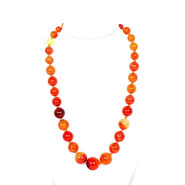 Decorations handmade. Livemaster - original item Orange beads made of natural agate. Handmade.