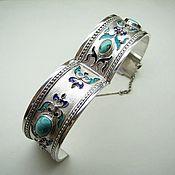 Украшения handmade. Livemaster - original item Divina.  Silver bracelet with turquoise and enamel. Handmade.
