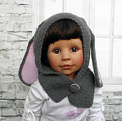 Работы для детей, handmade. Livemaster - original item Baby girl bunny hat Grey rabbit hat ears. Handmade.