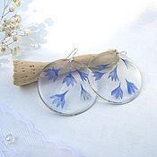 Украшения handmade. Livemaster - original item Transparent Earrings with Real Blue Cornflower Petals. Handmade.