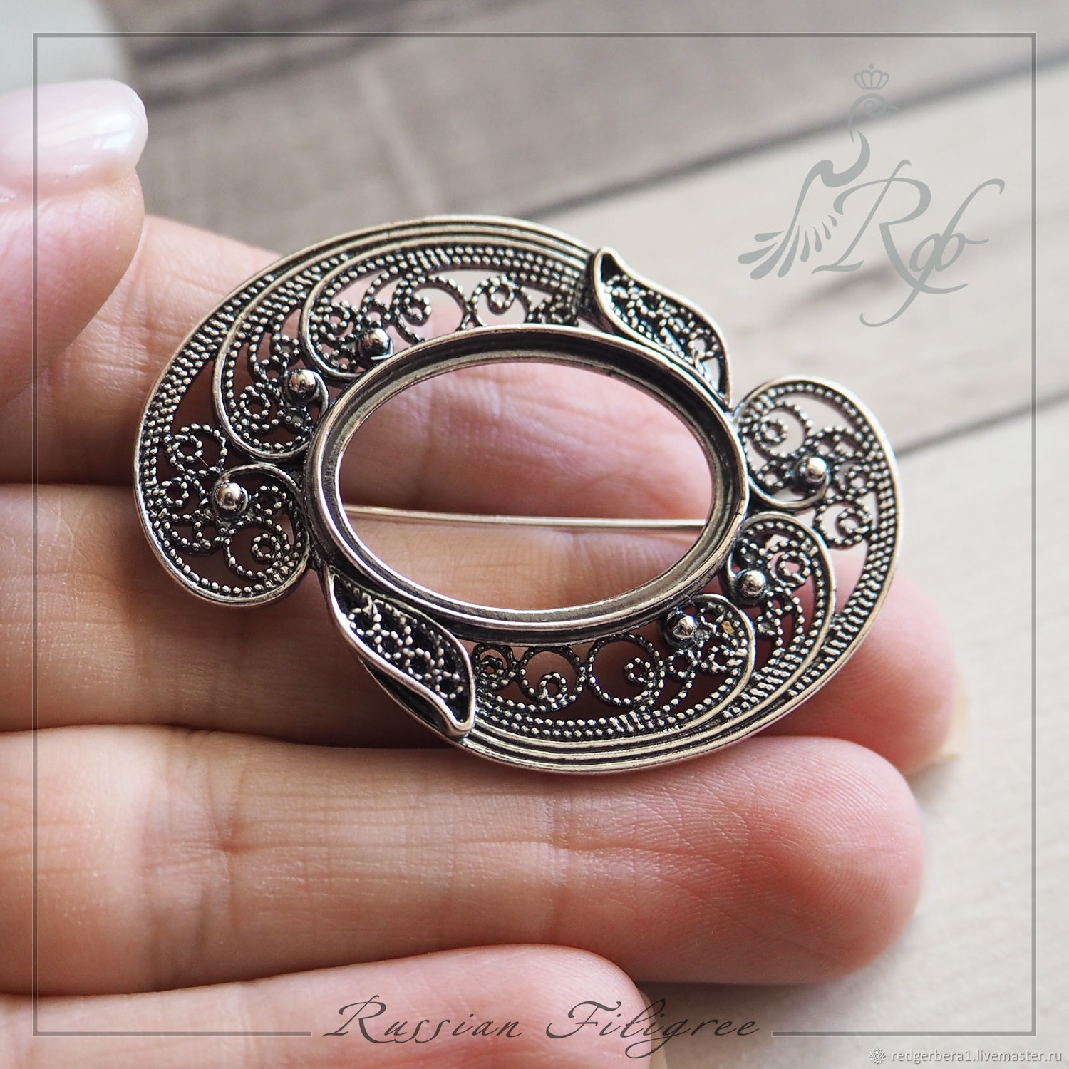 Basis for brooches Valencia(24h17 mm) silver 925, Blanks for jewelry, Kostroma,  Фото №1