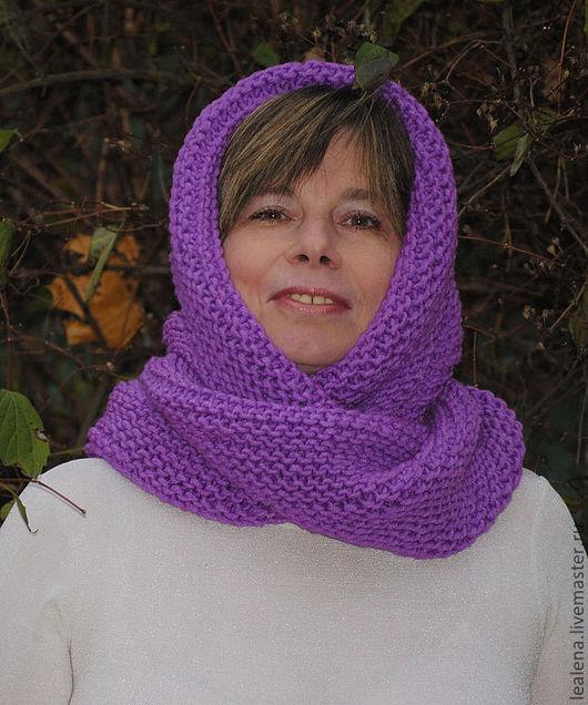 """Шали, палантины ручной работы. Ярмарка Мастеров - ручная работа. Купить Снуд-шарф фиолетовый  """"Флокс"""" ( полушерсть). Handmade."""