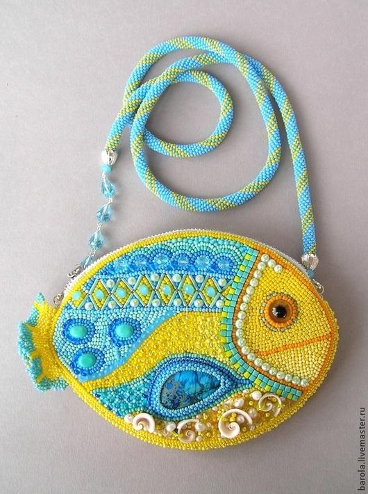 """Женские сумки ручной работы. Ярмарка Мастеров - ручная работа. Купить Сумочка """"Солнечная рыбка"""". Handmade. Абстрактный, бисерная сумочка"""