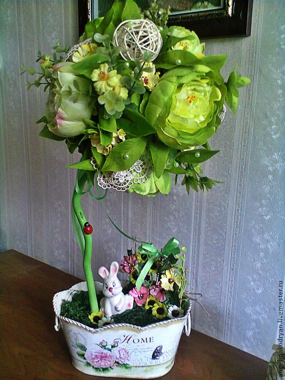 Topiary handmade. Livemaster - handmade. Buy Topiary 'Shabby rabbit'.Shabby chic, peony, gift for mom, artificial flowers