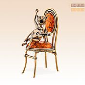 Модели ручной работы. Ярмарка Мастеров - ручная работа фигурка Кот-певец с гитарой на стуле. Handmade.