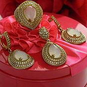 Украшения handmade. Livemaster - original item Set of Rose quartz earrings ring pendant.. Handmade.