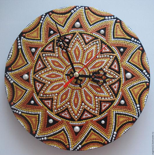 """Часы для дома ручной работы. Ярмарка Мастеров - ручная работа. Купить Часы """"Танец пламени"""". Handmade. Медь, пламя, яркие"""