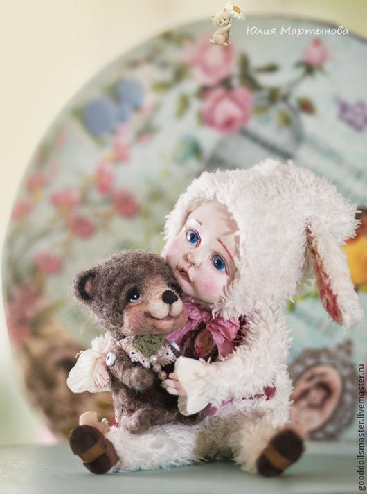 Коллекционные куклы ручной работы. Ярмарка Мастеров - ручная работа. Купить Малыш со своим мишкой... Handmade. Белый, зайка