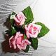 """Броши ручной работы. Мини-брошь """"Букетик любимых роз"""". Натали. Ярмарка Мастеров. Цветы из полимерной глины"""
