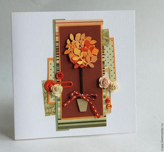 """Открытки на все случаи жизни ручной работы. Ярмарка Мастеров - ручная работа. Купить Открытка """"Осеннее дерево"""". Handmade. Оранжевый"""