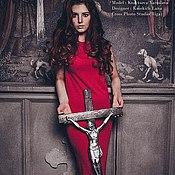 Одежда handmade. Livemaster - original item Red long knitted dress