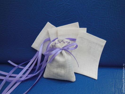 Упаковка ручной работы. Ярмарка Мастеров - ручная работа. Купить Мешочек из льна. Handmade. Мешочек, упаковка для украшений, атласные ленты