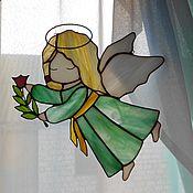 """Для дома и интерьера ручной работы. Ярмарка Мастеров - ручная работа Витраж """"Ангелок с веткой"""". Handmade."""