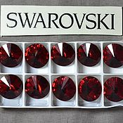 Материалы для творчества handmade. Livemaster - original item 1 PCs 12mm Rivoli Siam 208 Swarovski Rivoli Swarovski. Handmade.
