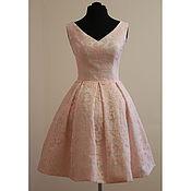 Одежда ручной работы. Ярмарка Мастеров - ручная работа Нежно розовое платье с бантовыми складками Катрина. Handmade.