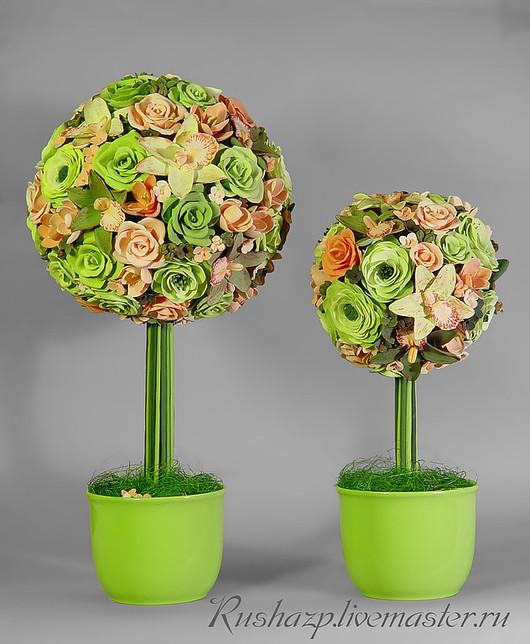 """Топиарии ручной работы. Ярмарка Мастеров - ручная работа. Купить Топиарии """"Сладкая парочка"""" с цветами из полимерной глины. Handmade."""